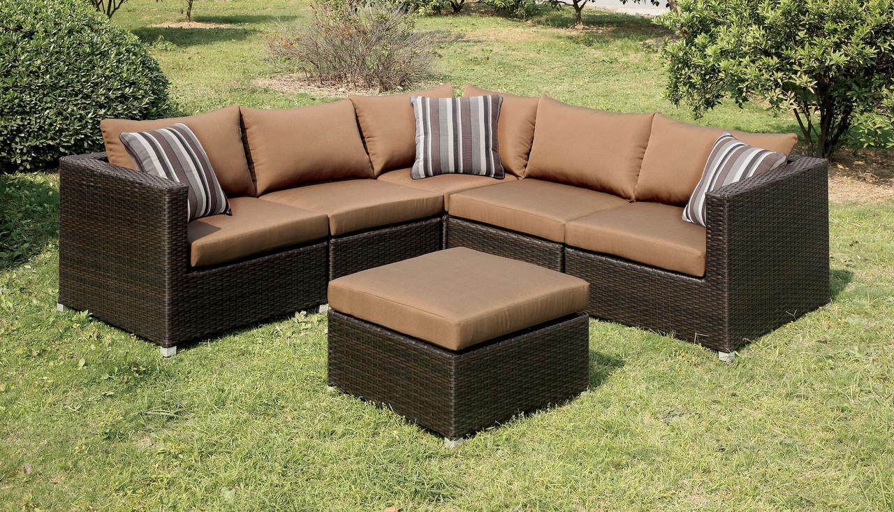 outdoor espresso sectional sofa