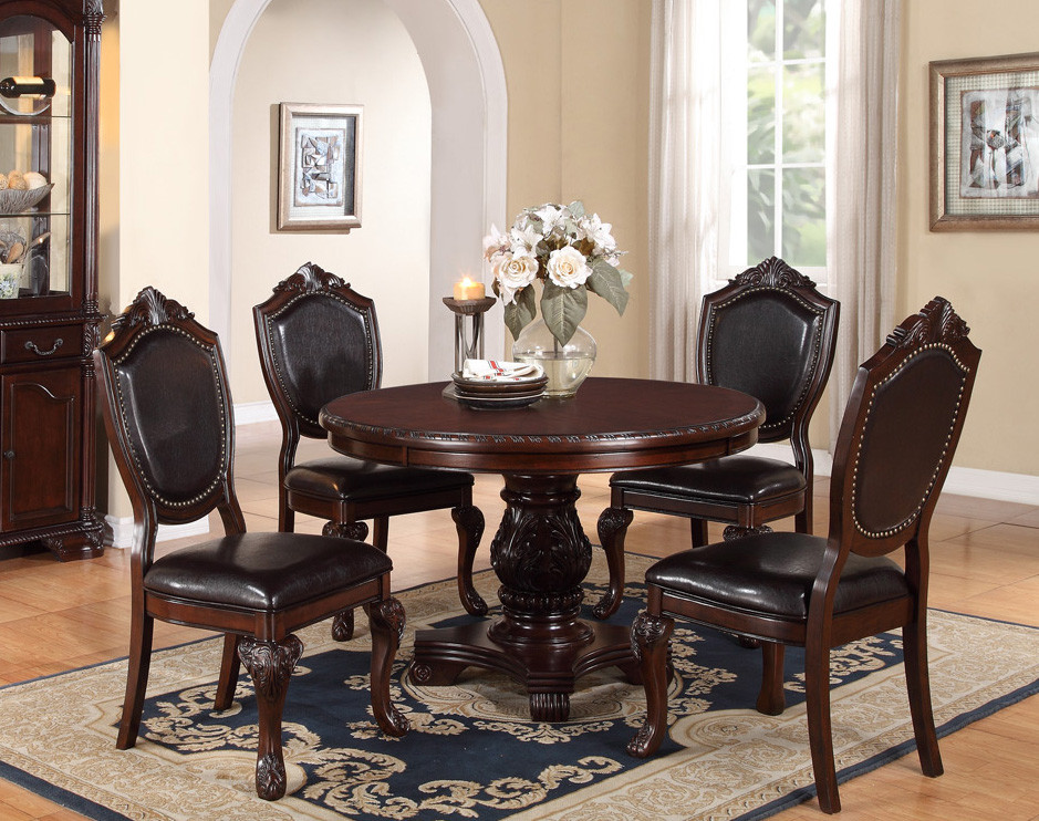 dinner table and chairs cow print dining chair 48 round cherry wood pedestal set poundex f2187