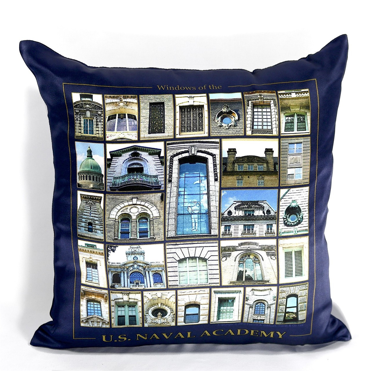 windows of the us naval academy silk satin pillow cover