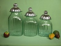 Hand Blown Glass Canisters with Pewter Lids