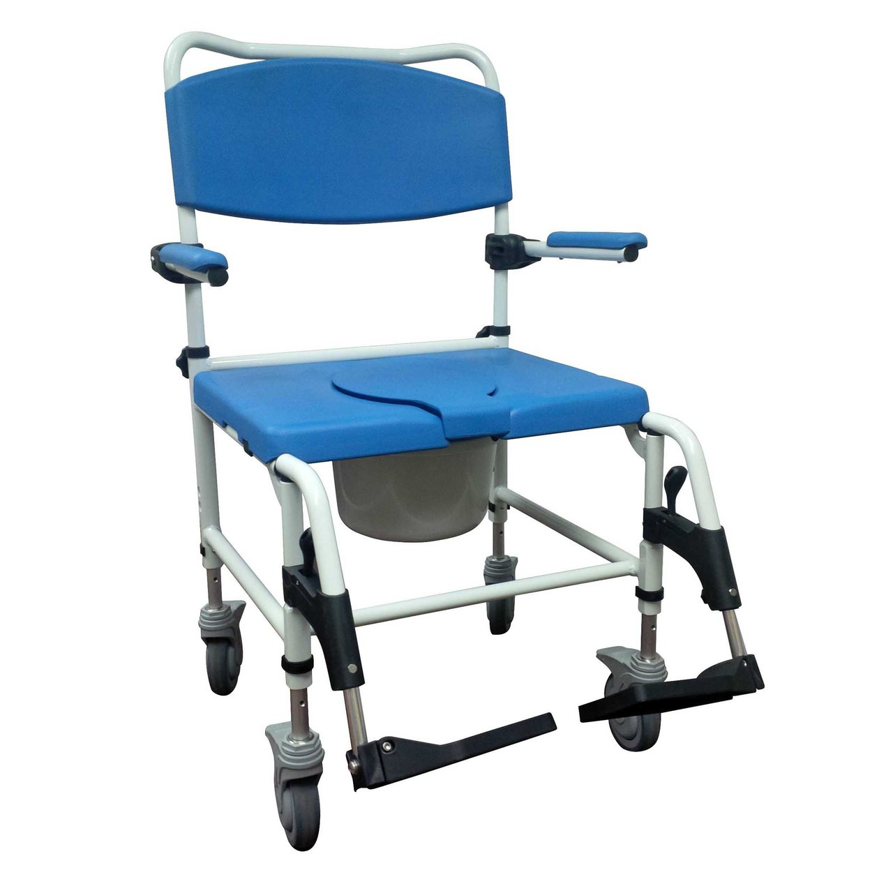 bariatric transport chair 500 lbs z covers uk shower commode heavy duty wheels with rolling loading zoom
