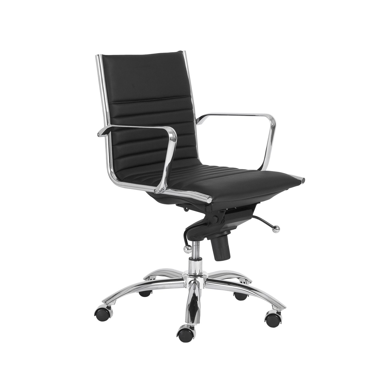 Low Back Office Chair Dirk Low Back Adjustable Office Chair In Black Leatherette