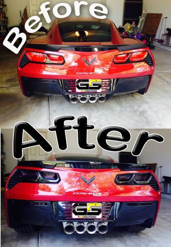 C7 Corvette Rear Tail Light Blackout Lens Kit Smoked