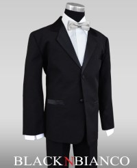 Kids Tuxedos in Black with Straight Silver Bow Tie