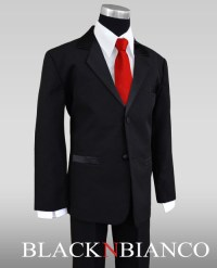 Black Tux Red Vest And Tie