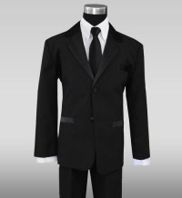 Formal Tuxedo Suit for Kids with Long Neck Tie in Black