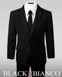 Boy's Solid Black Notch Lapel Suit w/ a Skinny Tie