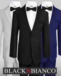 Boys Wedding Suits w/ a colored slim bow tie - Black N Bianco