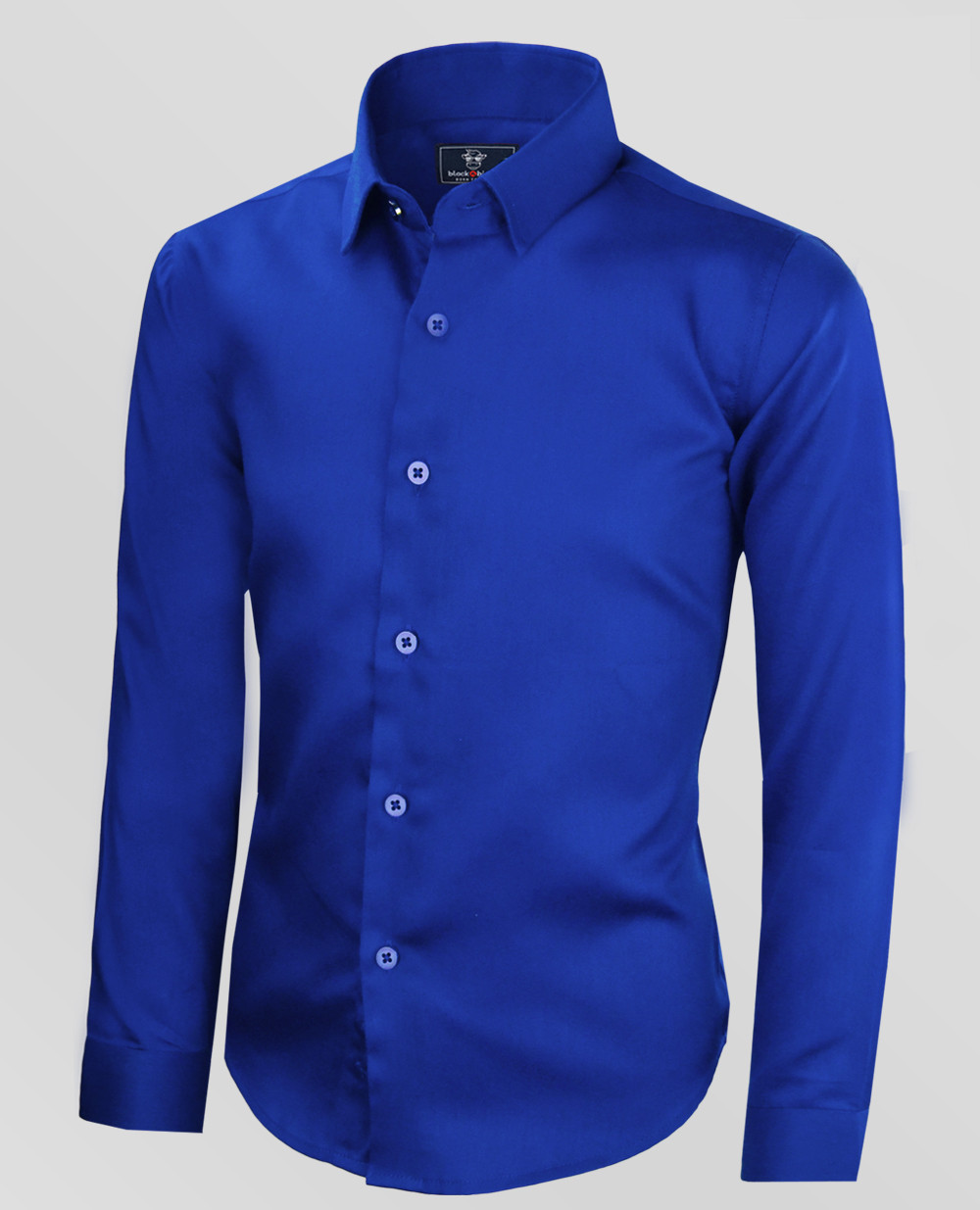 Black Bianco Boys' Signature Sateen Dress Shirt In Blue