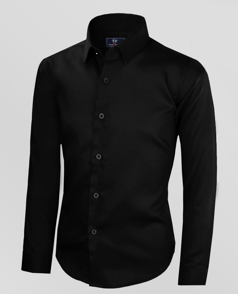 Black Bianco Boys' Signature Sateen Button Dress Shirt