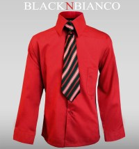 Boys Red Shirt with Tie outfit - BLACK N BIANCO