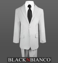 Boys 2 Button Light Gray Suit with a Black Tie and Black