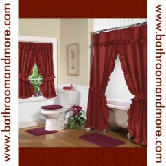 Taupe Chair Covers Folding Leg Size Rust Red Fabric Double Swag Shower Curtain With Matching Window - Bathroom And More