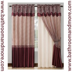 Red Outdoor Chair Pillows Ergonomic Humanscale Burgundy Window Curtain Drapery Set Double Layer Panel W/ Valance 55