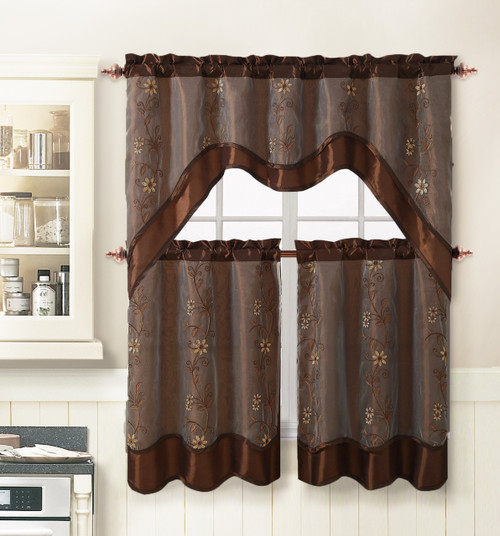 taupe chair covers vista posture chocolate 3 piece kitchen window curtain treatment set: 2 layer, embroidered sheer design, ...