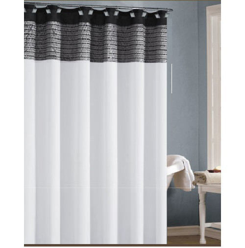 White Black and SilverGray Shower Curtain with Sequins  Bathroom And More
