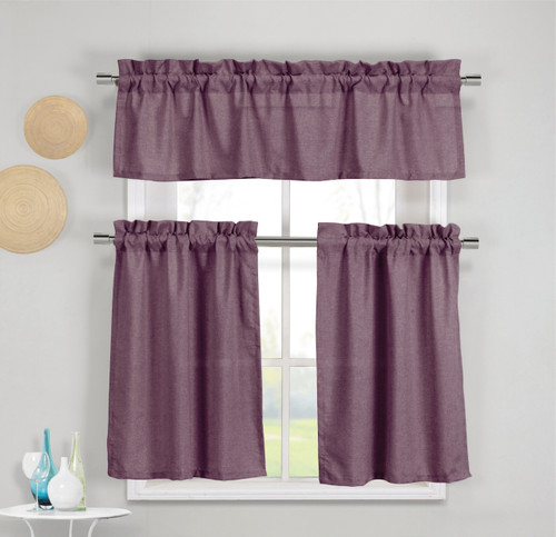 kitchen towels bulk islands with seating 3 piece faux cotton plum purple window curtain ...