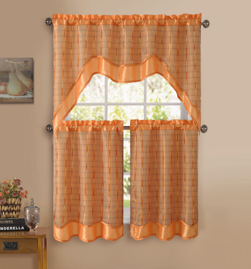 Orange 3 Pc Kitchen Window Curtain Set Double Layer 2 Tiers 1