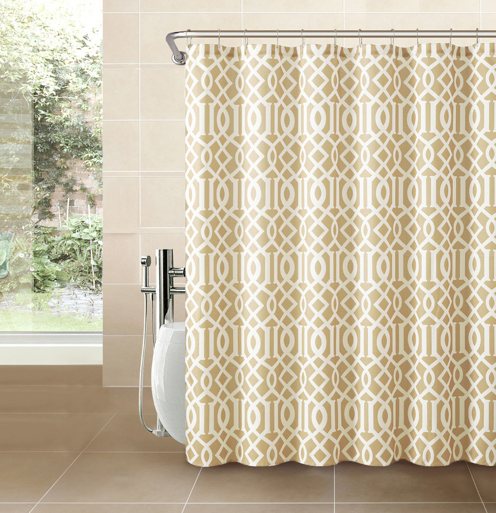 beige chair covers buy bungee office gold taupe fabric shower curtain: imperial trellis design | bathroom and more