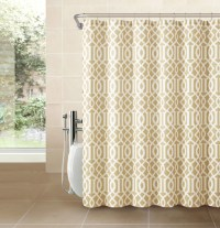 Gold Taupe Fabric Shower Curtain: Imperial Trellis Design ...
