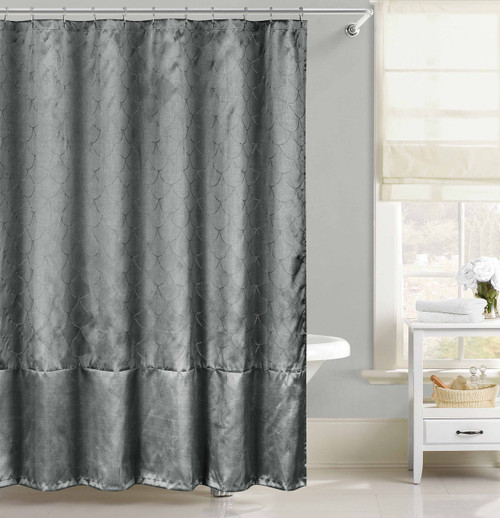 Gray Faux Silk Fabric Shower Curtain Silver Raised Pin