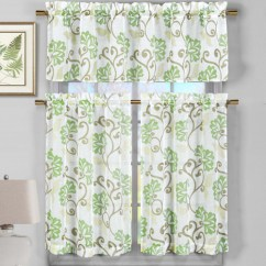 Beige Chair Covers Buy Directors 30 Inch 3 Piece Semi Sheer Window Curtain Set: Sage Green Floral Vine Deisgn, 2 Tiers, 1 Valance ...