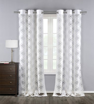 Set Of Two 2 Silver Jacquard Window Curtain Panels Grommets Off White Medallion Design 76W