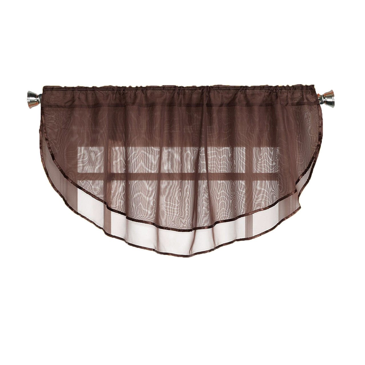 Sheer Voile Valance Curtain For Windows Size 54 In X 24 In Scalloped With Ribbon For Kitchens Living Room Dining Room Bathroom Bay Windows