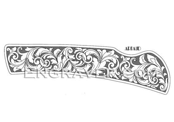 Folding Knife Hand Engraving Design 1 by Arnaud