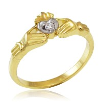 Gold Claddagh Promise Ring with Diamond