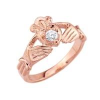14K Rose Gold Diamond Claddagh Ring