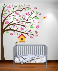 Nursery Tree Cherry Blossom Birdhouse Wall Decal Flowers ...