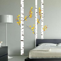 Birch Tree Forest Set Vinyl Wall Decal Realistic Leaves ...
