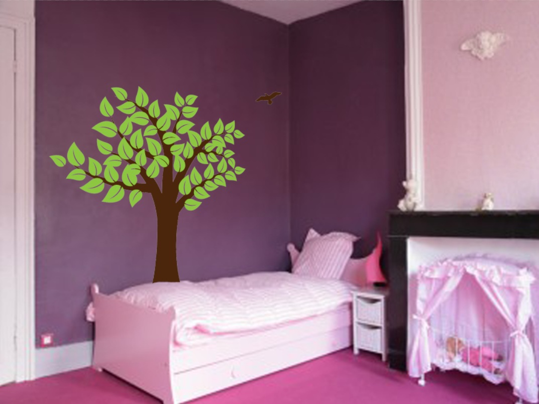 Large Wall Tree Nursery Decal Girl Room Decor With Leaves