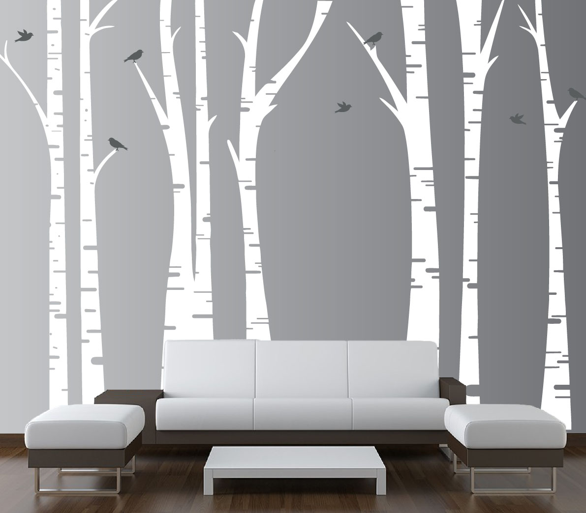create your own living room set floral curtains for birch tree forest vinyl wall decal birds #1295 ...