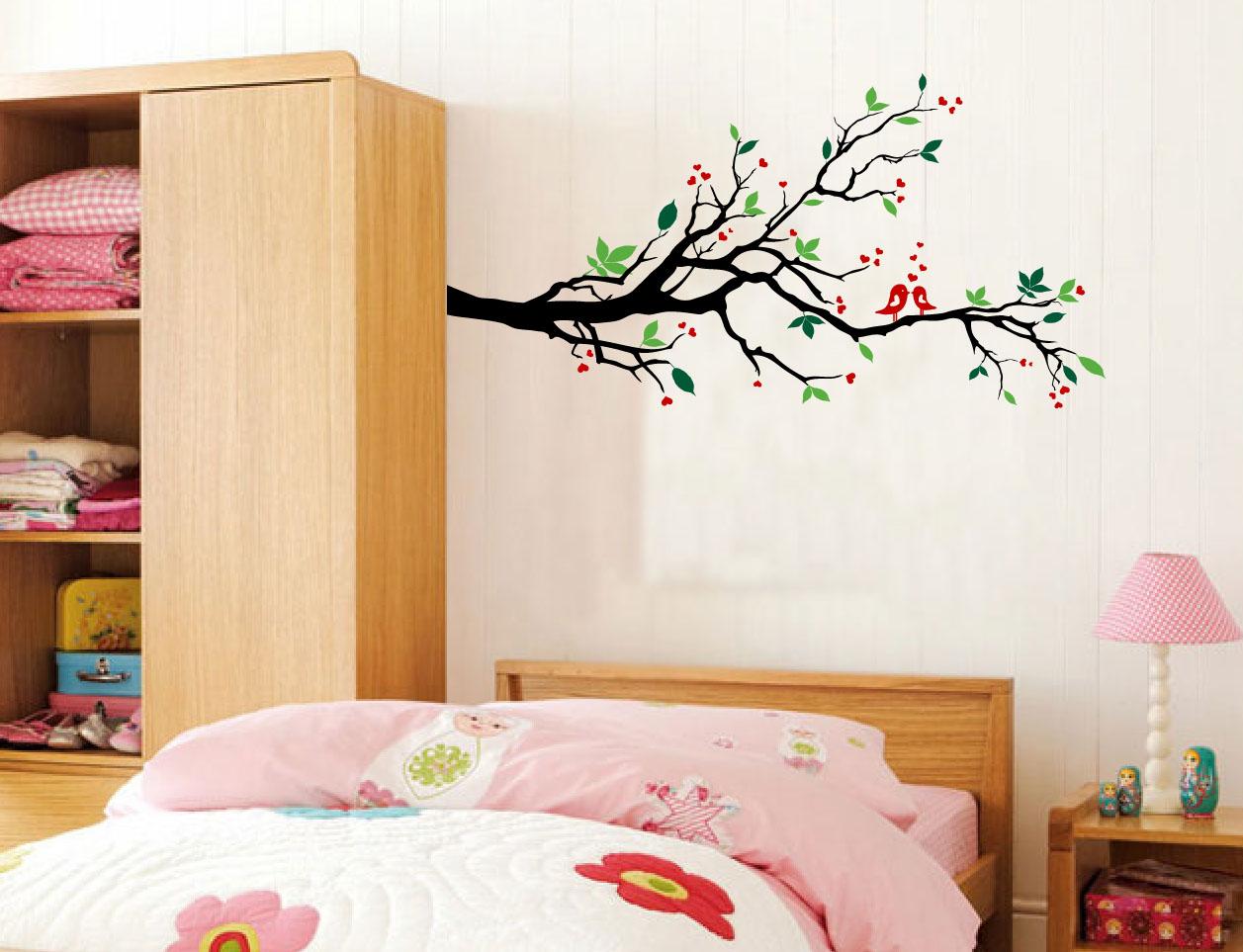 tree branches wall decal love birds vinyl sticker nursery leaves