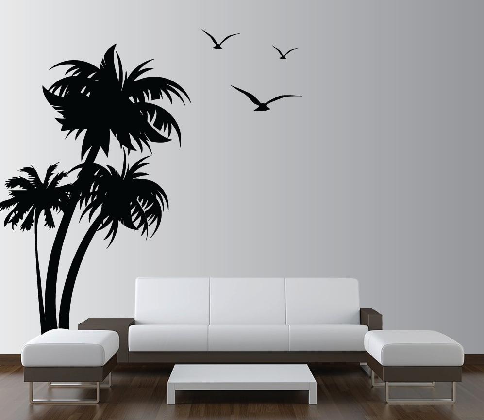 palm coconut tree wall decal with birds trees