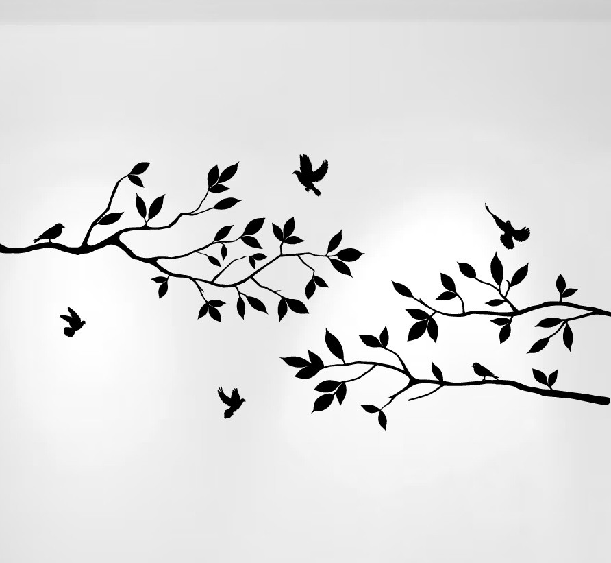 Tree Branches Wall Decal with Birds Vinyl Sticker Nursery