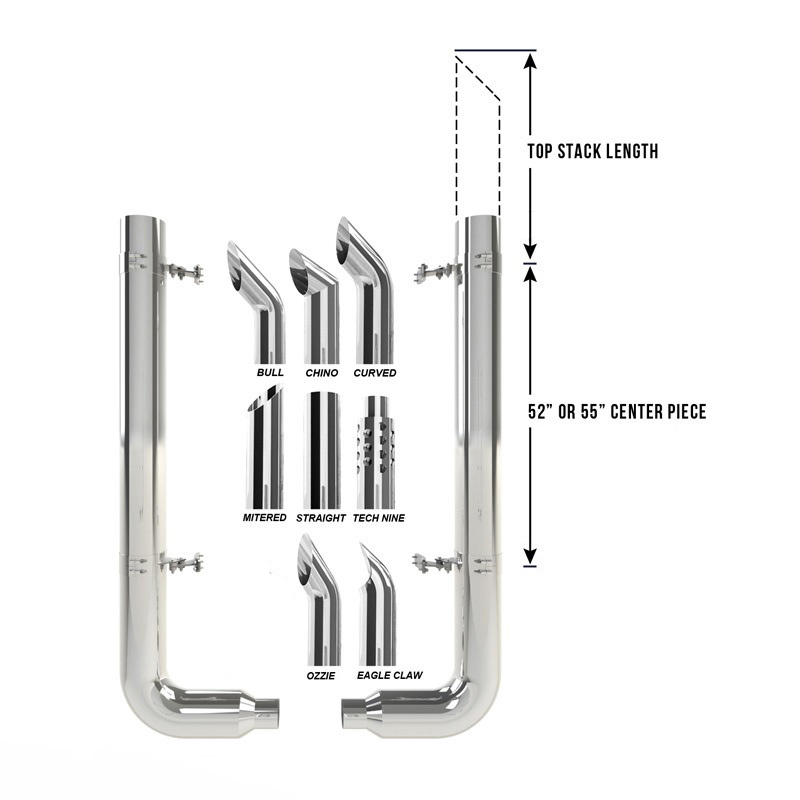 peterbilt 359 379 6 dynaflex chrome exhaust kit