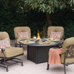 Darlee Elisabeth Patio Conversation Set With Fire Pit Table Antique Bronze Seats 4 San Diego Spa Patio
