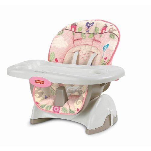 fisher price space saving high chair zoey swivel saver pink for moms image 1