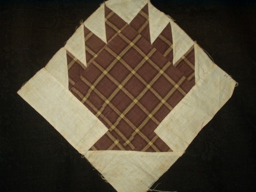 Hand Stitched 19th Century Brown Fabric Bear Claw Quilt