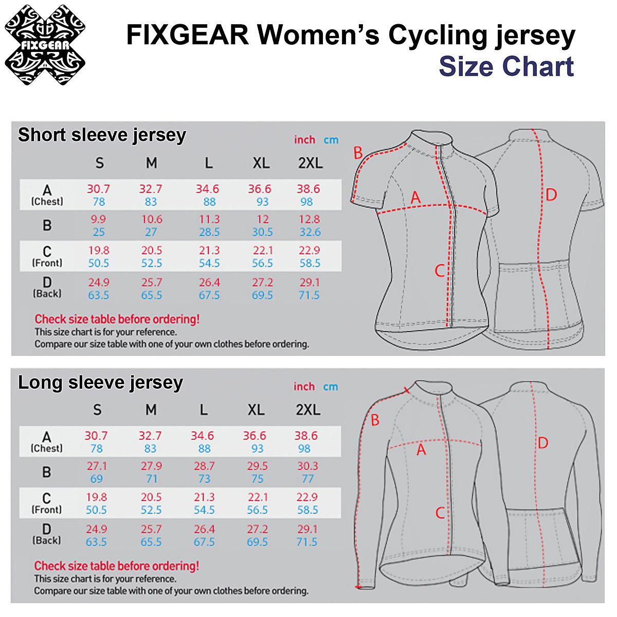 New womens cycling jersey size chartg also chart rh fixgearmall