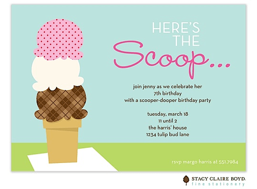 here s the scoop ice cream kids party invitation