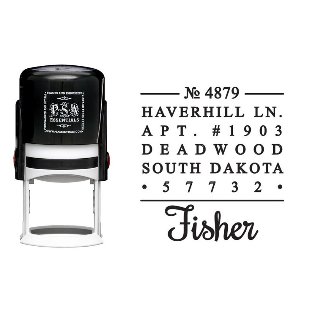 fisher return address stamp