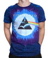 Pink Floyd Dark Side Galaxy Tie-Dye T-Shirt Tee Liquid Blue