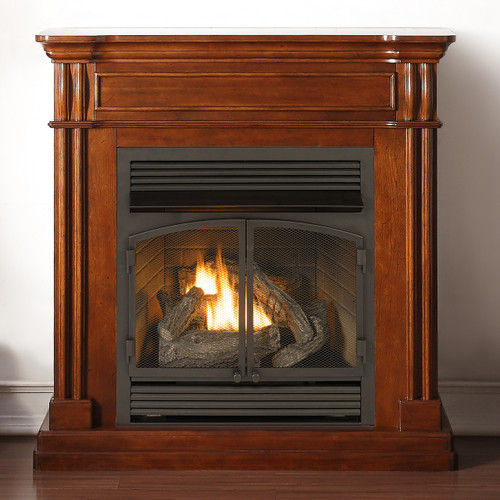 Duluth Forge Dual Fuel Ventless Fireplace  32000 BTU Remote Control Autumn Spice Finish
