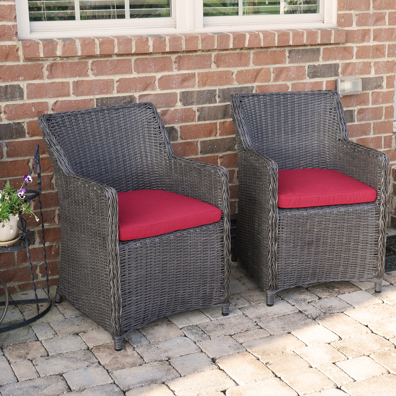 wicker patio chair set of 2 gold wing back chairs sea island lounge with red cushion