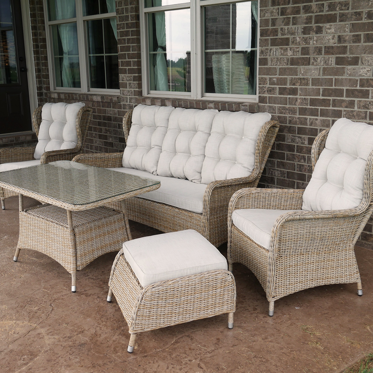 Charleston 5-piece Outdoor Wicker Patio Sofa Set With