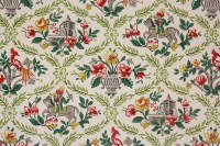 1950's Vintage Wallpaper Red and Green Flowers Birds ...